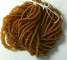 Medium Topaz Transparent Czech 6/0 Seed Bead on Loose Strung 6 String Hank