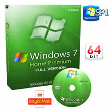 Windows 7 Home Premium 64-Bit DVD SP1 Full Version & Activation CoA License 10