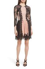ALICE + OLIVIA Black Rose Tan Nude Kaylen Romantic Lace Stretch Chiffon Dress 0