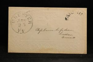 Vermont: Chester 1850s Jenny Lind Embossed Stampless Cover, PAID III in Arc