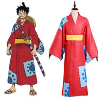 One Piece Wano Country Monkey D. Luffy Cosplay Costume Kimono Outfit