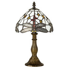 Traditional Style Dragonfly Table Lamp Bronzed Metal Mosain Stained Glass Shade