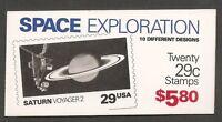 US SC # BK192 Space Exploration. Plate # 111111.Complete Booklet.  MNH
