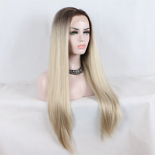 Natural Blonde Ombre Brown Roots Long Straight Lace Front Womens Wig Highlights
