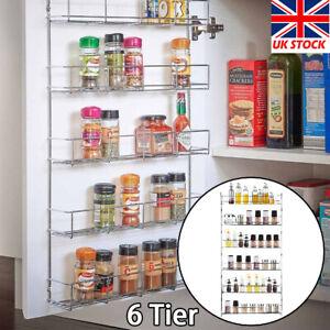 6 Tier Spice Rack Herb Jar Holder Kitchen Door  Wall Mounted Cupboard Storage UK