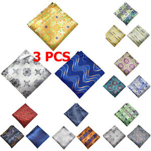 3 PCS Men's Paisley Flower Pocket Square Handkerchief Wedding Colorful Hanky