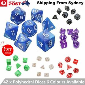 7/42 X Pearl Dnd Dice Set and Bag Polyhedral Dice For Dungeons Dragons RPG Party