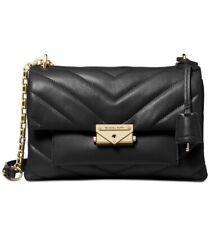 Michael Kors Cece Chevron Quilted Black Leather Chain Shoulder Bag