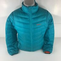 Marmot Mens Puffer Jacket Aqua Blue Mock Neck Full Zipper Long Sleeve L