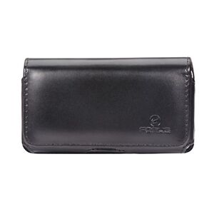BLACK LEATHER PHONE CARRY CASE COVER BELT HOLSTER POUCH SWIVEL CLIP LOOPS - J01
