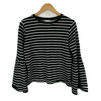 Seed Heritage Tunic Top Size XS Oversized Black White Striped Long Sleeve Knit
