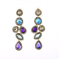 NEW Stylish Anthropologie Wera Inter Dangle Purple Blue Teal Gold Bead Earrings