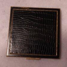 Vintage faux Black Alligator Powder Compact Case Mirrored