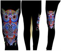 Plus Full-Length Leggings Hand Embellished All Rhinestone Colorful Owl