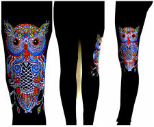 Plus Full-Length Leggings Hand Embellished All Rhinestone Colorful Owl