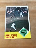 """1963 TOPPS #144 ROGER MARIS """"SPARKS RALLY""""— WS GAME 3— SHARP💥*** (wph)"""