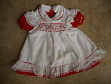 Vintage pinafore mayfair 18 Mo red Hearts white girls dress Puffy 70's ?  Prop