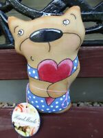 "Handmade Souvenir BEAR WITH HEART cloth doll 7"", stuffed and painted. BRAND NEW."
