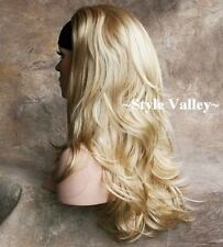 Long Blonde Mix 3/4 Fall Hair Piece Half Wig Straight Layered Wavy Hairpiece