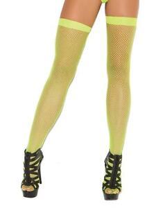 Fishnet Thigh Highs Hosiery Stockings 80s Retro Neon Costume Club Nylons 1744