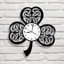 Irish Celtic Shamrock design vinyl record wall clock home shop office bedroom 2