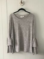 Umgee Layered Ruffle Bell Sleeve Knit Top Heathered Beige Women's Plus Size 1X