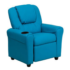 Contemporary Turquoise Vinyl Kids Recliner w/Cup Holder & Headrest New