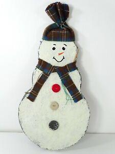"""Snowman Slate Look Plaque Wall Art Door Hanger Hanging Decor 15"""""""
