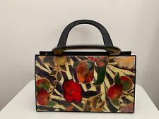 Vintage Angela Frascone Resin Black Cream Red Floral Flower Handbag Purse