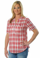 UG Apparal NCAA Oklahoma Sooners Women Size Large Short Sleeve Crimson Plaid Top