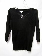 DRESSBARN knit Top Shirt 1X 14/16 Bust 44 Ribbed Solid Black V-neck New NWT