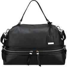 Nine West 9372 Womens Hot Mesh Black Faux Leather Satchel Handbag Large BHFO