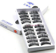 10 Pairs False Eyelashes Lashes Glue Natural Individual Makeup Soft Long Thick