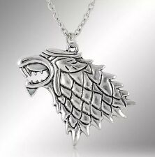 """Game Of Thrones Stark Direwolf Necklace Pendant 1.5"""" Silver US Seller"""
