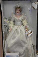 Franklin Mint Princess Diana Doll Porcelain Wedding/Bride Doll W COA Limited Ed.