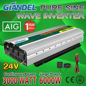Large Shell Power Inverters 3000W/6000W 24V/240V 4.5M Remote USA Transistors