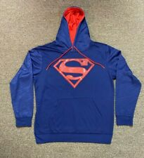 "DC Comics Superman Hoodie Blue Sweatshirt Men's Large Sewn ""S"" Red Logo"