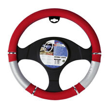 Car Steering Wheel Cover Glove Red Silver Grey Chrome PVC 37-39cm Universal Fit