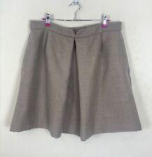 Jaeger Skirt 16 Aline Box Pleat Wool Mix Beige Work Business Floaty Smart