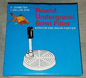Round Glass Bowl Aquarium Undergravel Under Gravel Filter System NEW!