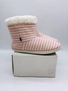 Cuddl Duds Women's Luxe Sherpa Turn-Cuff Bootie Slipper Pink L (9-10)