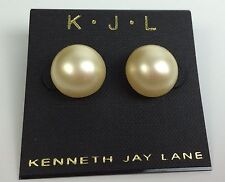 Kenneth Jay Lane New White Large Round Stud Earrings