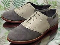 G.H. BASS ENFIELD OXFORDS GRAY LEATHER BUSINESS DRESS SADDLE SHOES WOMENS SZ 9 M
