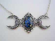 Witches Blue Fire Opal Small Triple Moon Goddess Silver Oxidized Finish