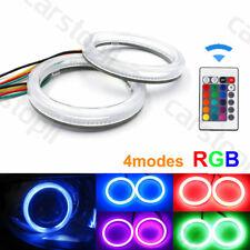 Pair RGB LED Angel Eyes Light COB Car Headlight Halo Ring 90mm Remote Control