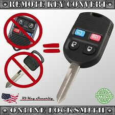 Keyless Entry Remote and Key Convert To One 4 Buttons Transmitter and Battery