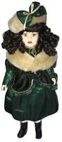 """1997 Camellia Garden Porcelain Doll 16"""" Green Velvet Dress GUC Very Good Vtg"""
