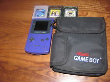 Nintendo:Gameboy Color Grape Purple System + 3 Games CGB-001}Tested+ Fast Ship