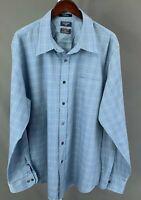 Dockers Mens Size 2XLT Tall Blue checks Long Sleeve Button Front Shirt