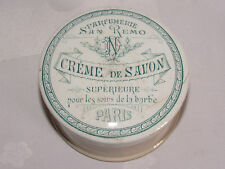 09C5 ANCIEN POT FAÏENCE SARREGUEMINES CRÈME SAVON A BARBE PARFUMERIE PARIS 1900